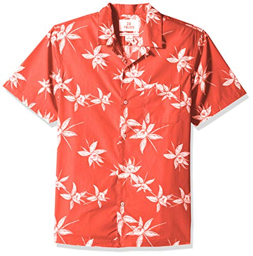 28 Palms Men's Standard-Fit 100% Cotton Tropical Hawaiian Shirt, Red/White Floral, X-Large