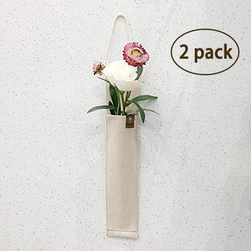 (Snail Garden 2 Pack  Decorative Fabric Hanging Wall Flower Vases Decor For Living Room,Bedroom,Office (Linen))