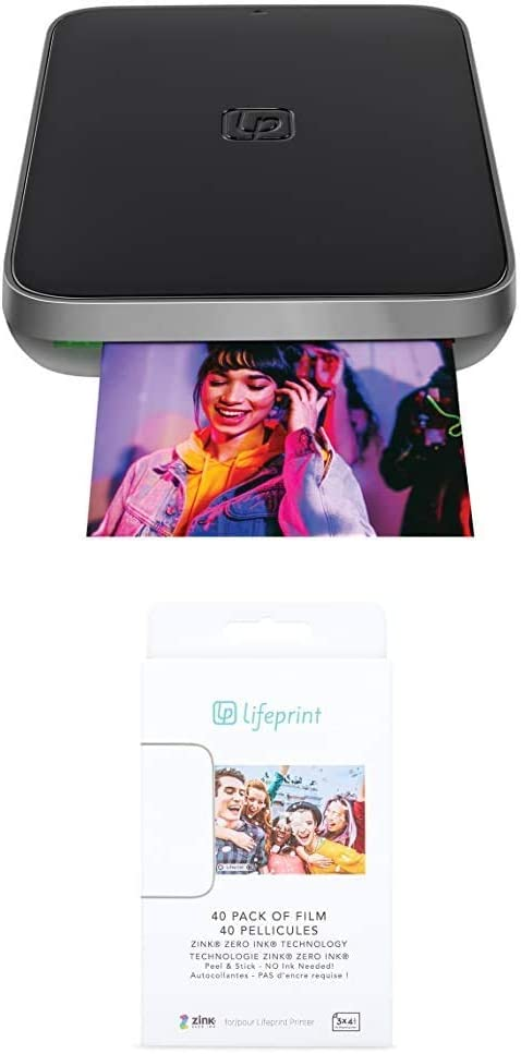 Lifeprint 3x4.5 Portable Photo and Video Printer for iPhone and Android. - Black with Lifeprint 40 Pack of Film for Lifeprint Augmented Reality Photo and Video Printer
