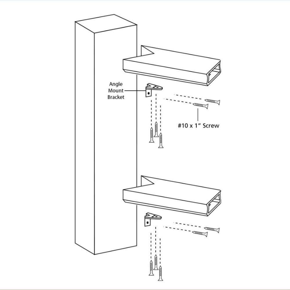 Toucan City Safety Goggles Fiberon Horizon White Stainless Steel Angle Rail Hardware Kit BKT Angle 4PK W C