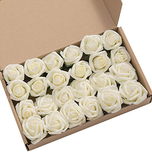 - Ling's moment Roses Artificial Flowers 24pcs Realistic Ivory Rose Buds and Petite Roses w/Stem for DIY Wedding Bouquets Centerpieces Boutonniere Corsages Flower Decorations