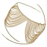 Hibye Woman Bikini Summer Bra Chain Breast Metal Body Chain - Body Ornaments Accessories for Swimsuit Sandbeach Party (Multi-tassel)