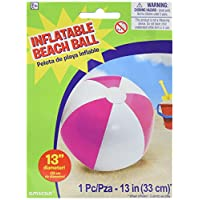 """Amscan Inflatable Beach Ball in Pink Swimming Party Water Activity Toy & Pool Decoration, Pink, 13"""""""
