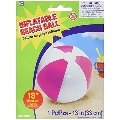 """Hot Amscan Inflatable Beach Ball in Pink Swimming Party Water Activity Toy & Pool Decoration, Pink, 13"""" supplier"""