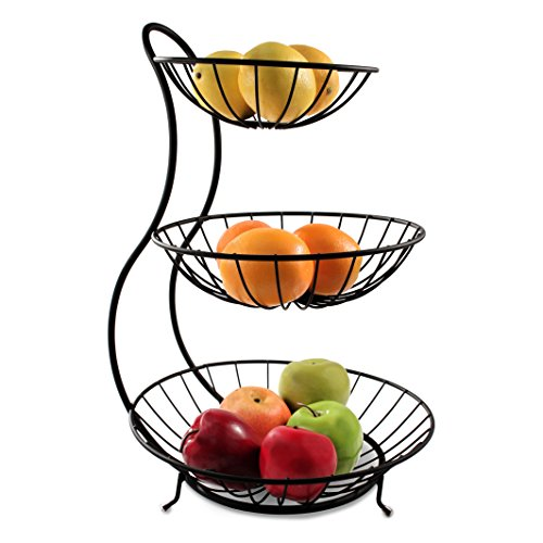 Basket Server - Spectrum Diversified 81810 Yumi Arched 3 Tier Server, Black
