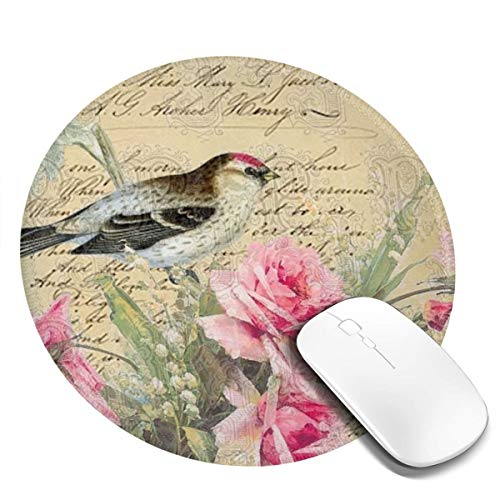 Mouse Pad Shams Bird Pretty Pink Blossoms Gaming Mousepad Non-Slip Rubber Gaming Mouse Pad Round Mouse Pads with Stitched Edge