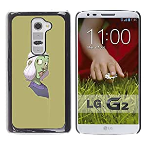 Shell-Star Arte & diseño plástico duro Fundas Cover Cubre Hard Case Cover para LG G2 / D800 / D802 / D802TA / D803 / VS980 / LS980 ( Green Character Cartoon Purple )