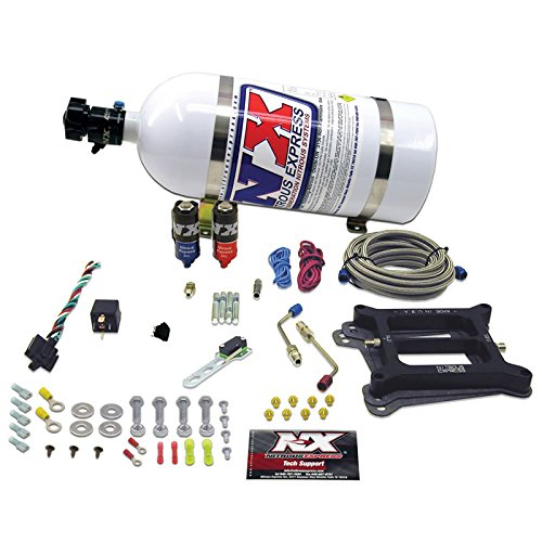 (Nitrous Express 40041-05 4150 50-200 HP 4-BBL Hitman Plus Plate System with 5 lbs. Bottle)