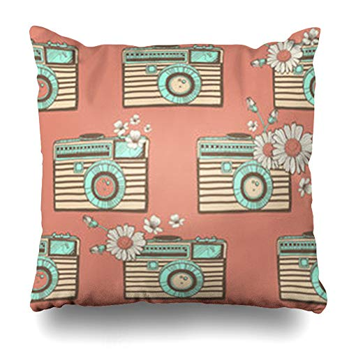 Aika Designs Throw Pillows Covers Pillowcase Antique Vintage Camera Pattern Hand Black Camcorder Digital Doodle Home Decor Zippered 20