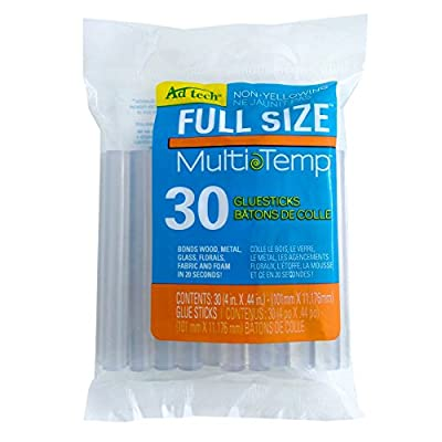 "AdTech W220-14ZIP50 Clear Multi Temp Glue Stick, Full Size, 4"" Length, 50 Pack"