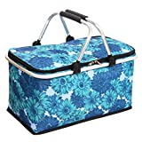 Cocobuy Collapsible Trolley Bags Folding Shopping Bag with Wheels Foldable Shopping Cart Reusable Shopping Bags Grocery Bags Shopping Trolley Bag on Wheels for Women