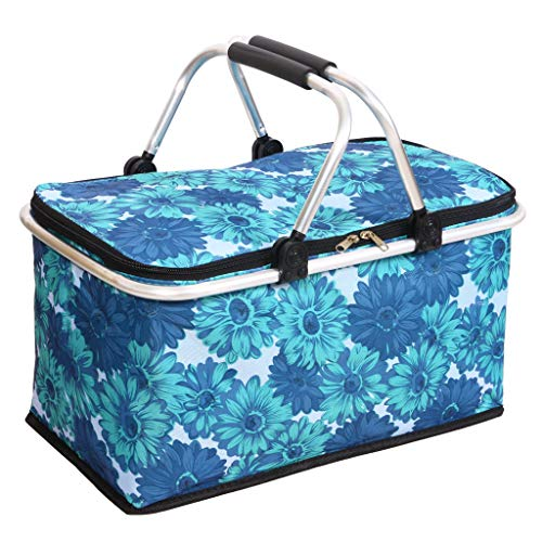 Cocobuy Collapsible Insulated Picnic Bag Grocery Shopping Basket Market Tote Carry Basket Folding Bag Basket for Family, Vacations, Parties, Travel, Party, Beach, Picnics,Everyday Meal (Blue A) ()