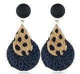 Leopard-shaped drop-shaped bamboo long earrings (Blue)