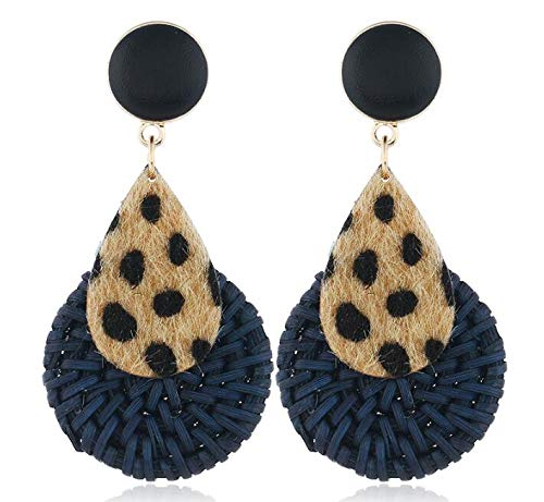 Leopard-shaped drop-shaped bamboo long earrings (Blue)