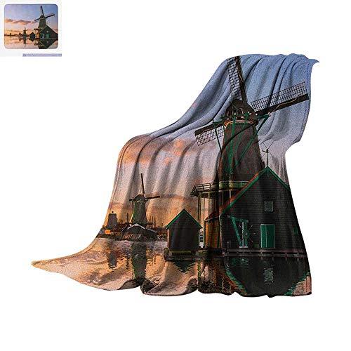 Denim Dutch Von (Windmill Super Soft Lightweight Blanket Traditional Village with Canal Waterfront Dutch Architecture with Scenic View Custom Design Cozy Flannel Blanket 60