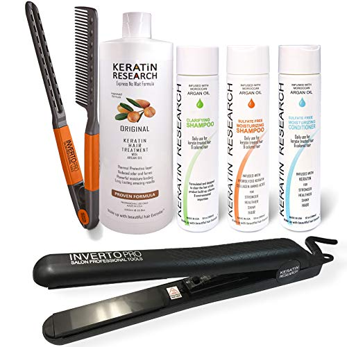 Complete Brazilian Keratin Hair Blowout Treatment 4 Bottles 1000ml Kit with Easy Comb and INVERTO Pro 1