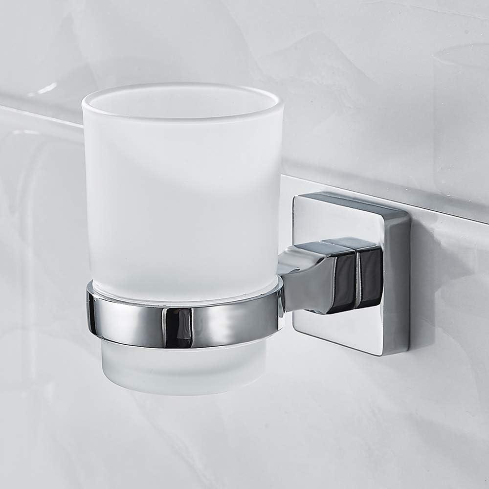 Greenribbon Brosse à dents Porte-verre à fixation murale en verre Chrome  Porte-gobelet accessoire de salle de bain pour salle de bain Cuisine, 15pcs,