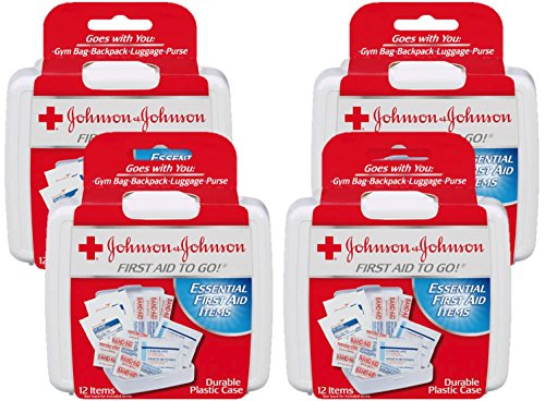 Johnson & Johnson First Aid to Go (Mini First-Aid Kit with 12 Items) Pack of 4 Kits