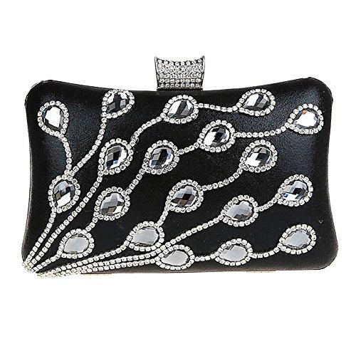 Diamond Clutch Prom Bridal Women' Handbag Party Black Bag Evening for Purse KELAND Wedding Bq5Ptp