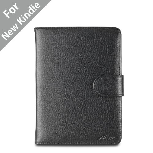 Acase(TM) Classic Kindle Leather Case (Black) for 4th Generation 6