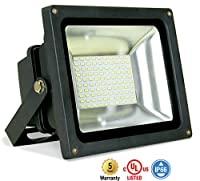 ASD LED Floodlight 50W SMD Outdoor Landscape Security Waterproof UL Listed DLC Certified 4000K (Bright White)
