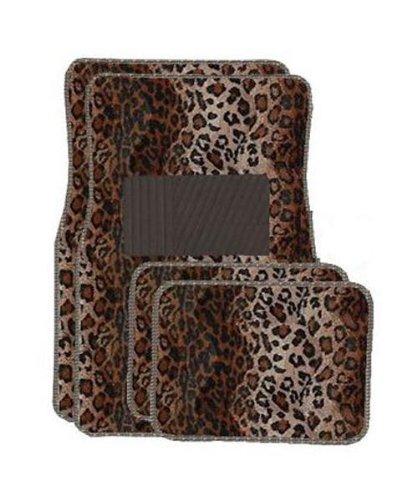 LA Auto Gear Tan Leopard Carpet 4 Piece Car Truck SUV Flo...