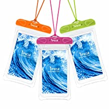 iSPECLE 3 Pack Waterproof Case, Cellphone Waterproof Case, Waterproof iPhone Case Clear Waterproof Pouch for iPhone 7 plus 6 6s 6 Kayaking Swimming Surfing Boating Fishing Beach - Green Orange Pink