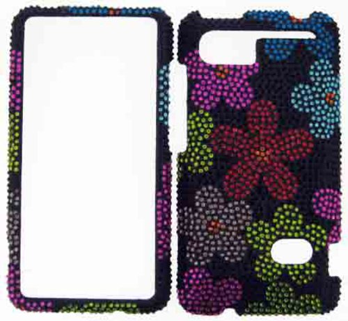 FULL DIAMOND CRYSTAL STONES COVER CASE FOR HTC HOLIDAY / VIVID / RAIDER 4G PH39100 COLORFUL FLOWERS ON BLACK (Cover Ph39100 Htc)