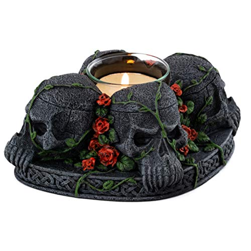 - Top Collection Demon Skull T-Light Candle Holder - Hand Painted Gothic Skull and Roses Votive Candle - 2-Inch Decorative Wick Burner