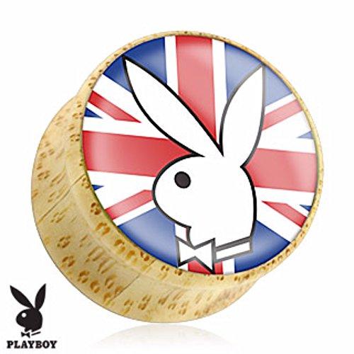 Logo Saddle Plug - Pair of Playboy Bunny on Union Jack Print Wood Saddle Freedom Fashion Plug