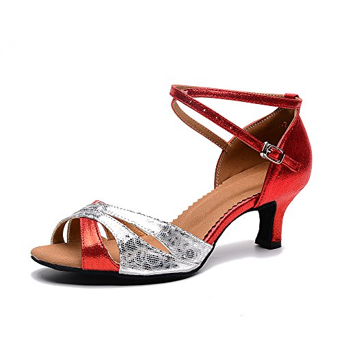 hot Women's Latin Dance Shoes with Soft Sole Female Latin Sandals Indoor Ballroom Dance Shoes (8 B(M) US, red-Outdoor) big discount