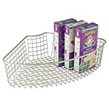 mDesign Lazy Susan Wire Storage Basket with Handle for Kitchen Cabinets, Pantry - 1/4, Satin