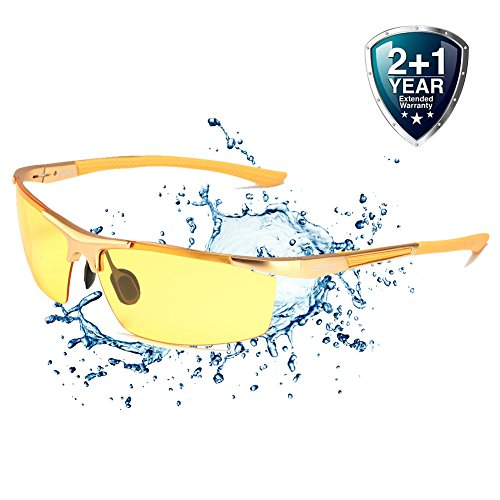 Driving Glasses for Men Anti Glare Polarized HD Safety Glasses at Night Yellow - Glasses With Blinders Side