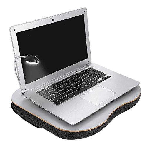 Laptop Lap Desk Portable Notebook Stand Tray with Adjustable LED Desk Light Foam Built-In Cushion Pen Cup Holder Cushioned Desk