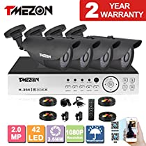 TMEZON 4 Channel 1080P AHD Home Security Cameras System DVR Kit 4x HD 1080P 2.0MP Waterproof Night Vision Outdoor CCTV surveillance Quick Remote Access Setup Free App