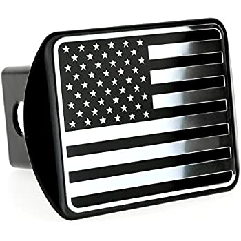"USA US American Flag Stainless Steel Emblem on Metal Trailer Hitch Cover (Fits 2"" Receivers, Black & Chrome)"