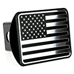 USA US American Flag Stainless Steel Emblem on Metal Trailer Hitch Cover (Fits 2″ Receivers, Black & Chrome)