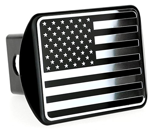 USA US American Flag Stainless Steel Emblem on Metal Trailer Hitch Cover (Fits 2