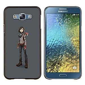"Be-Star Único Patrón Plástico Duro Fundas Cover Cubre Hard Case Cover Para Samsung Galaxy E7 / SM-E700 ( Máscara Macho chica futurista del arte del dibujo animado"" )"