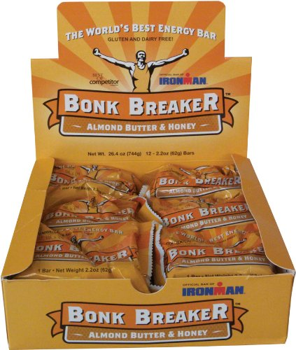 Bonk Breaker Energy Bar, Almond Butter & Honey, 2.2 Oz (12 Count), Gluten Free & Dairy Free
