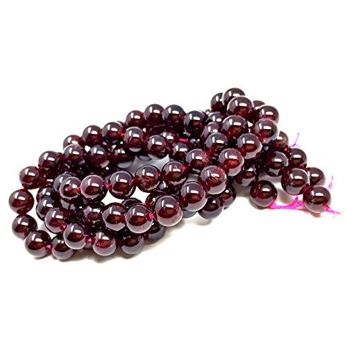 Garnet Bead Necklace - Chengmu 8mm Garnet Beads Natural Gem Round Loose Beads for Jewelry Making for Bracelet Necklace