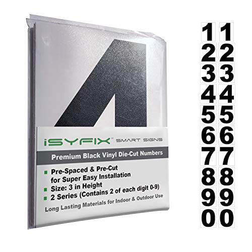 Number 3 Inch Reflective (Black Vinyl Numbers Stickers - 3 Inch Self Adhesive - 2 Sets - Premium Decal Die Cut and Pre-Spaced for Mailbox, Signs, Window, Door, Cars, Trucks, Home, Business, Address Number, Indoor or Outdoor)