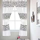 Popular Bath Sinatra Sequin Window Curtain with Tiebacks, White, 36×54 Inches