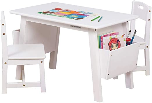 Amazon Com Solid Wood Children S Tables And Chairs Kindergarten Study Table Baby Game Table Home Painting Zhuo Toy Desk With Storage Box Furniture Decor