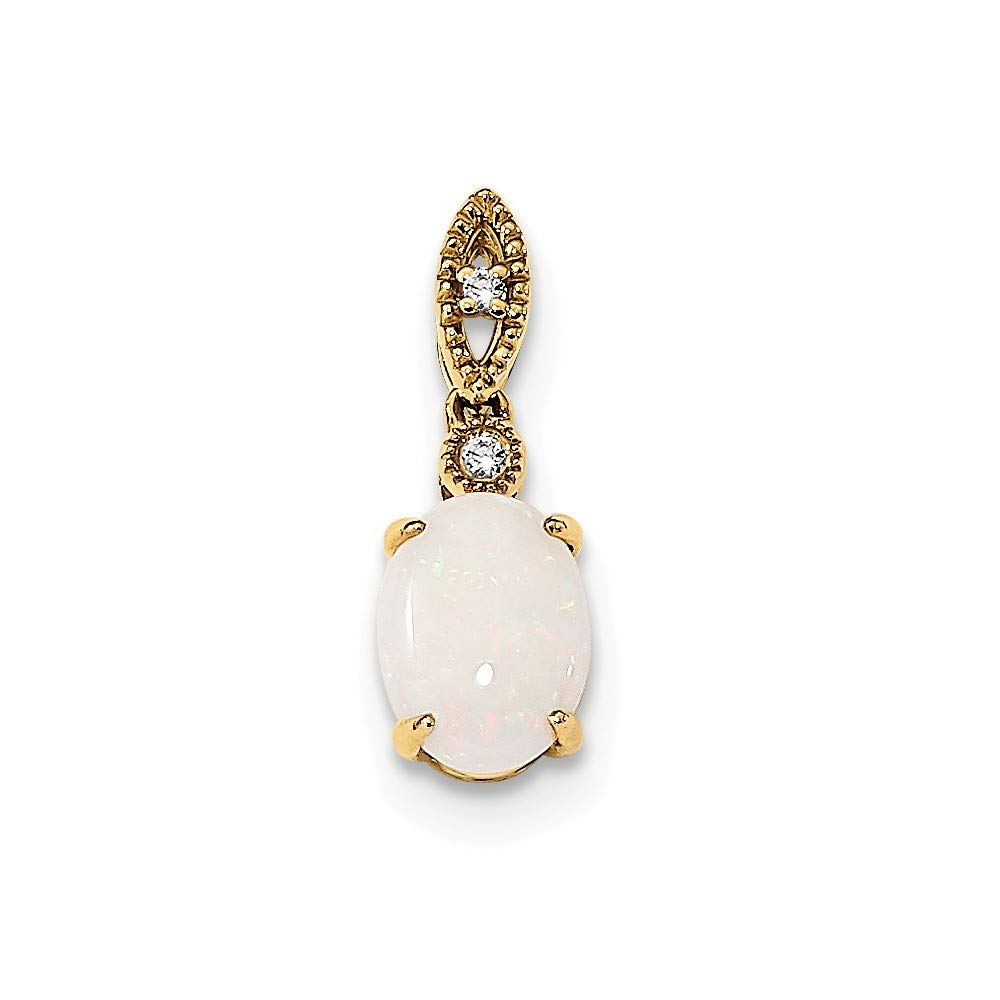 14K Yellow Gold with Austrian Opal And Diamond Pendant from Roy Rose Jewelry