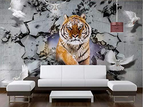- YZBZ Custom Wallpaper 3D Solid Wall Painting Tiger Breaking Background Wallpapers Home Decor Papel De Parede 3D Wallpaper-450cmx300cm