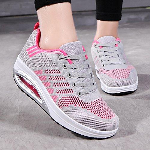No.66 Ville Womens Légers Flyknit Courir Chaussures De Jogging Confortable Plate-forme Espadrilles Us5.5-10 Gris