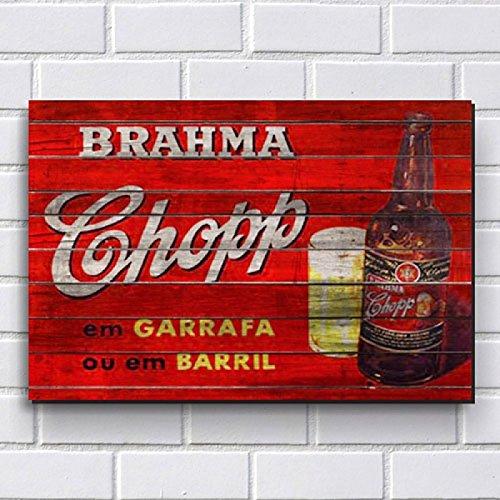 Placa Decorativa em MDF com 20x30cm - Modelo P109 - Cerveja Brahma