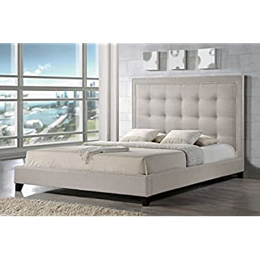 Baxton Studio Hirst Platform Bed, King, Light Beige