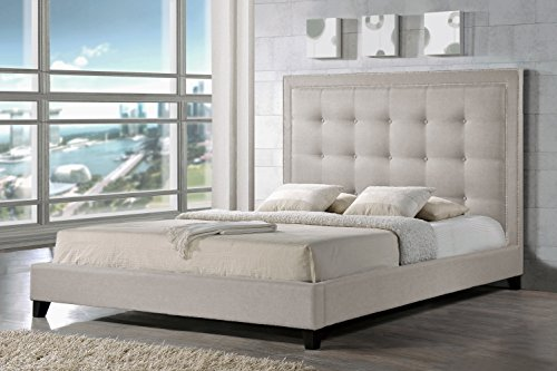Baxton Studio Hirst Platform Bed, Queen, Light Beige (Bedroom Contemporary Headboard)
